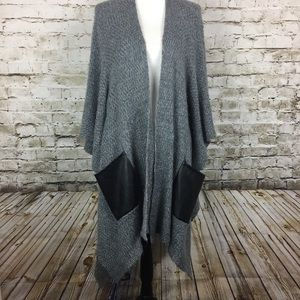 Bebe gray sweater poncho with faux leather pockets